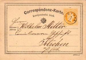 Austria 2kr Franz Josef Postal Card 1876 Graber to Tetschen.