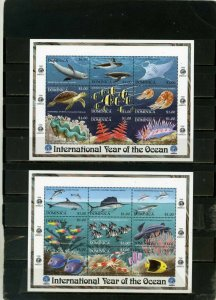 DOMINICA 1998 FISH & MARINE LIFE 2 SHEETS OF 9 STAMPS MNH