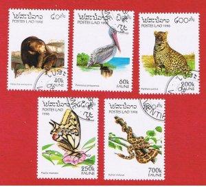 Laos #1260-1264  VF used  Fauna  Free S/H