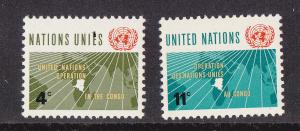 UN - NY # 110-111, Operation in the Congo, Mint NH, 1/2 Cat.