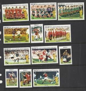 St Vincent Grenadines Bequia #218-29 com mnh cv $5.60 Soccer