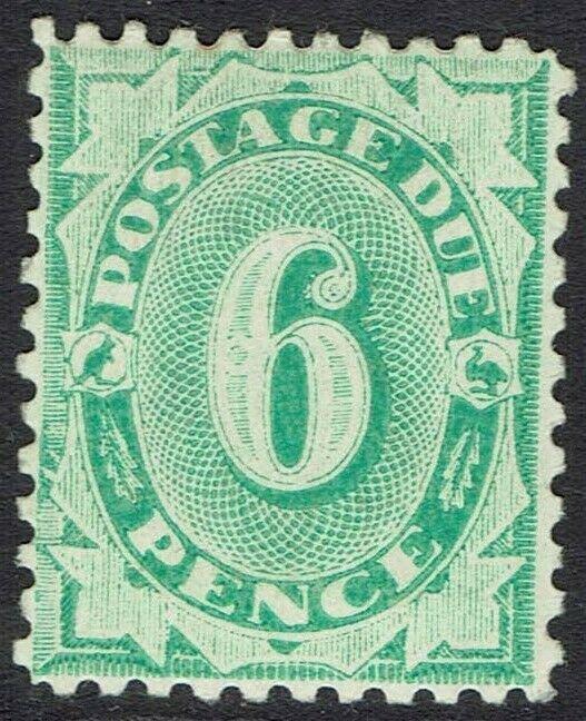 AUSTRALIA 1902 POSTAGE DUE 6D COMPLETE DESIGN WMK CROWN/NSW PERF 11