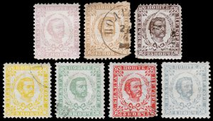 Montenegro Scott 11, 13-17, 32 (1874-94) Used/Mint G-F, CV $45.65 C