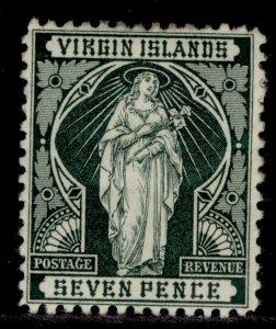 BRITISH VIRGIN ISLANDS QV SG48, 7d deep green, M MINT. Cat £13.