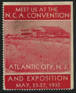 N.C.A. Convention, Atlantic City, N.J., 1932  Poster Stamp / Cinderella Label