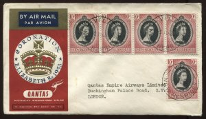 New Hebrides QEII 1953 Coronation cacheted FDC with 5 Coronation stamps