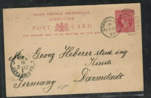 GIBRALTAR (P3005B) QV 10C PSC 1895 TO GERMANY WITH LONG MESSAGE