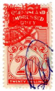 (I.B) Australia - Queensland Revenue : Impressed Duty 20/-