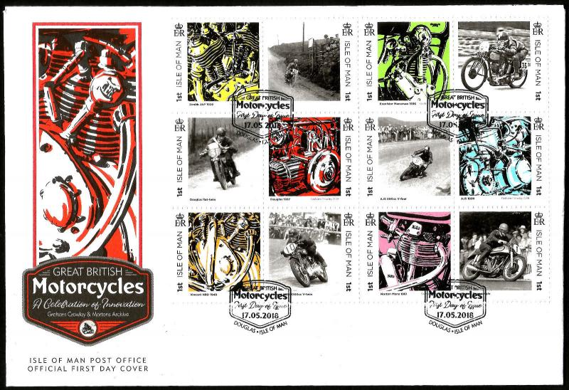Isle of Man IOM 2018 FDC Great British Motorcycles 12v Cover Motoring Stamps