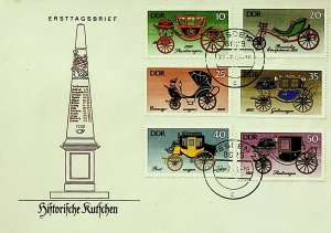Germany DDR FDC Historical Cars 1976 6 Stamps