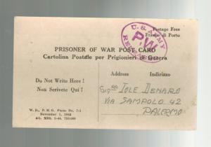 1944 US Army POW Postcard Cover to Italy Prisoner of war Held in Oran Algeria