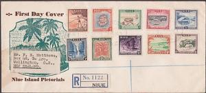 NIUE 1950 Definitive set on registered FDC to New Zealand....................234