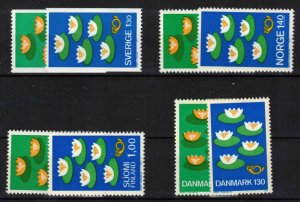 Nordic countries co-operation 4 complete mint sets. CV 9.10£ (approx 10.50€)