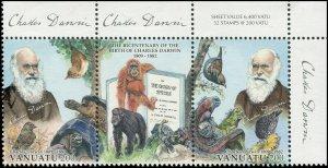 Vanuatu 2009 Sc 978 Birds monkey tortoise iguana Darwin CV $7.50