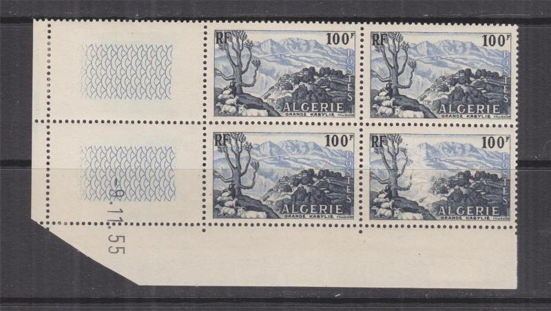 ALGERIA, 1955 Grand Kabylie, 100f., corner block of 4, mnh., lhm.