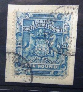 Rhodesia 1892 - 1893 £1 Deep Blue Fine Used on piece SG10