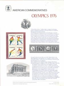 UNITED STATES COMMEMORATIVE PANE 1976 OLYMPICS