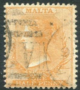 MALTA-1882-84 ½d Orange-Yellow Sg 18 GOOD USED V22378