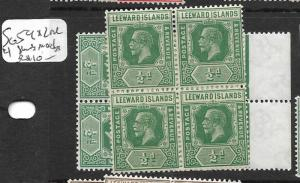 LEEWARD ISLANDS (PP0205B) KGV 1/2 D  SG 59 X 2 BL OF 4  MOG