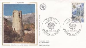 Andorra 1977 Europa St Vicens Chateau Silk Unadressed FDC