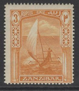 ZANZIBAR SG272 1914 3r ORANGE-BISTRE MTD MINT