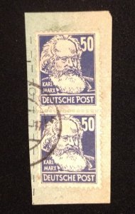 Scott 10N41 Germany DDR (1948) Used Horz.Pair 50pf Karl Marx