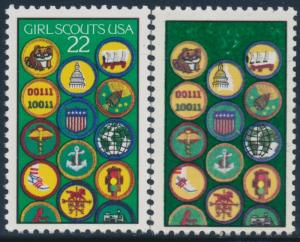 #2251 VAR. GIRL SCOUTS GREEN COLOR OVERINKING BLACK SHIFTED ERROR BT7426
