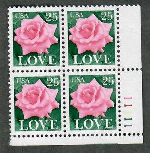 2378 Rose Love MNH Plate block - LR
