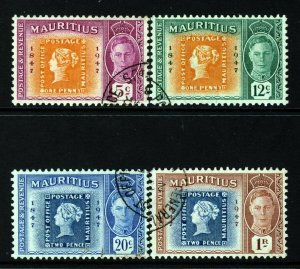MAURITIUS 1948 Colonial Postage Stamp Centenary Set SG 266 to SG 269 VFU