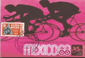 J) 2018 MEXICO, BYCICLE, 50 YEARS OF THE OLYMPIC GAMES, POSTCARD