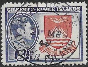 Gilbert & Ellice 51  1939  5 sh.  fvf used  ( PP top left )