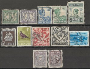 COLLECTION LOT OF #1764 SURINAM  12 STAMPS 1913+
