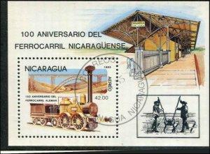 Nicaragua SC# 1418 Railroad Anniv minisheet Used SCV $5.75