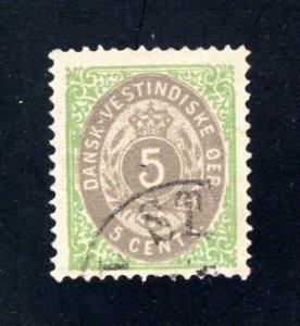Danish West Indies #8b,  F/VF,  Used  CV $20.00 ....1630008