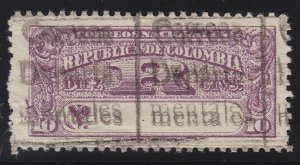 Colombia 1909 10c Purple Dep.Registration Double Overprint M Mint. Scott LF1 var