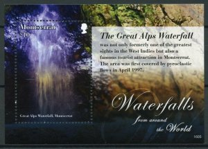 Montserrat Stamps 2016 MNH Waterfalls of World Great Alps Waterfall 1v S/S