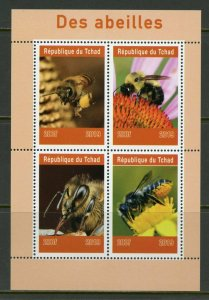 Chad 2019: Bees sheet of four mint never hinged