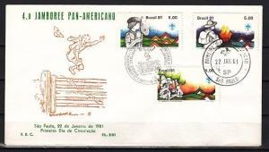 Brazil, Scott cat. 1730-1732. Pan American Scout Jamboree. #5 First day cover.