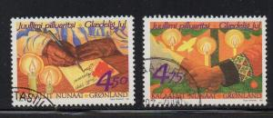Greenland Sc 355-6 1999 Christmas stamp set used