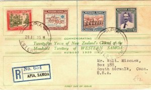 SAMOA FDC Apia Registered 1939 First Day Cover USA Conn South Norwalk PB271
