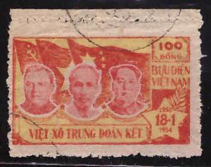 North Viet Nam Scott 8 Communist Leaders and Flags stamp Used