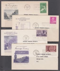 US Sc 952-955  FDC-s, 1947-48  issues, 4 diff, Grimsland cachets, addressed