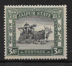 INDIA-JAIPUR SG45 1931 INVESTITURE 3a BLACK & MYRTLE MNH