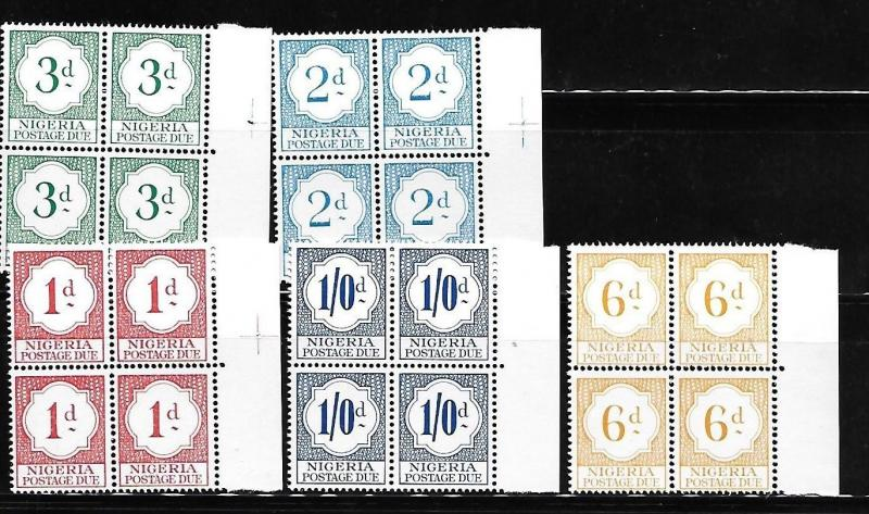 Nigeria 1961 Postage due stamps Blk of 4 MNH A720