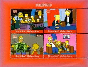 Madagascar 2018 Simpsons Homer Bart Cartoon Character 4v MNH S/S. (#064)