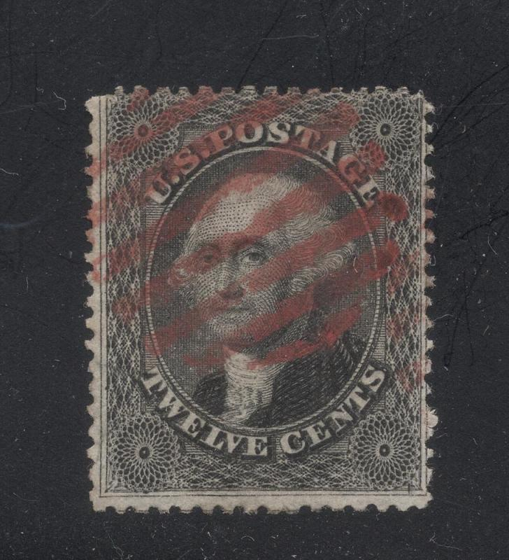 US#36 Black - Red Grid Cancel