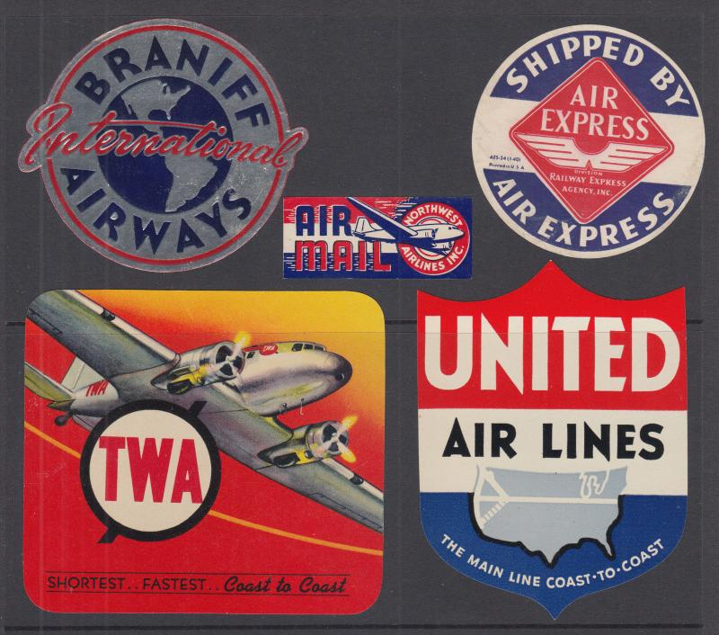 US Airline Labels, gummed, 5 different from the 1950's and 60's