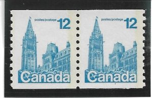 1977 Canada 729 12p Parlaiment MNH coil pair