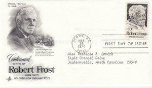 1974, 100th Anniv Birth Robert Frost, Artcraft, FDC (D12681)