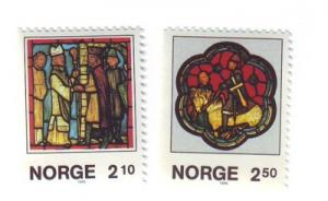 Norway Sc900-1 1987 Christmas stained glass stamps mint NH